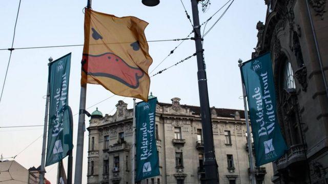 Zastave žute patke sa zastavama Beograda na vodi