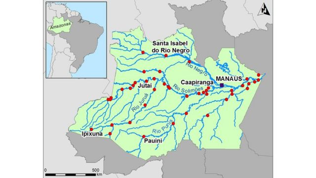 Mapa do Amazonas sem rodovias