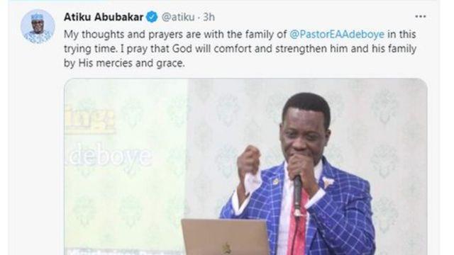 Atiku Abubakar condole Adeboye