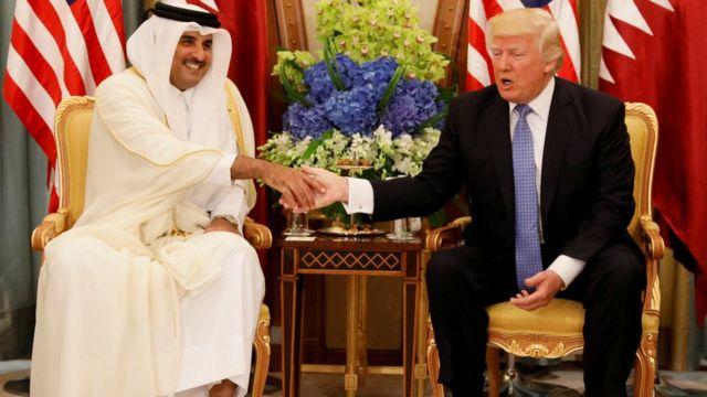 Emir of Qatar Thamim Bin al-Thani with US President Donald Trump in Saudi Arabia last month