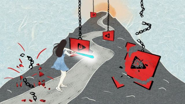 An illustration of a woman with a baseball bat smashing images of a video play icon