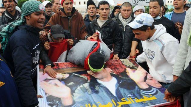 Muhammed Buazizi'nin cenaze töreni.