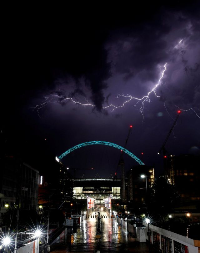 Lightning strikes above Wembley Stadium in London