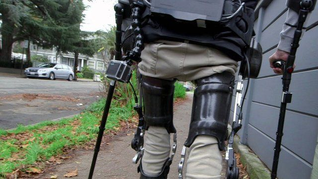 Wheelchair user Steven Sanchez uses Suit X, an exoskeleton suit to walk