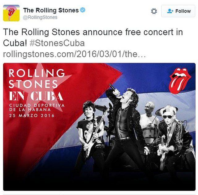 ストーンズはツイッターでキューバのコンサートを発表