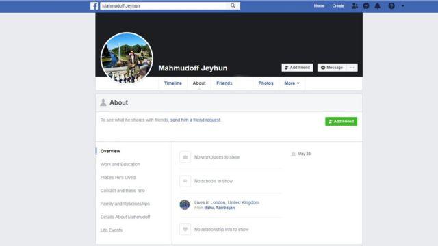 """Ceyhun """"Mahmudoff""""-un Facebook hesabı"""