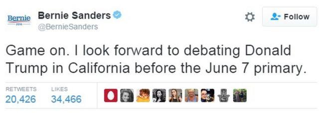 サンダース氏は「よし、やろう。6月7日の予備選の前にカリフォルニアでドナルド・トランプと討論するのを楽しみにしている」とツイートした