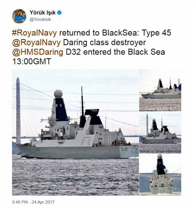 Tuit de la cuenta de @YorukIsik sobre el HMS Daring