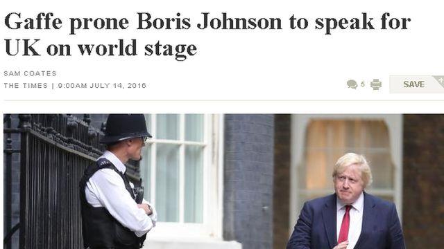 "Газета The Australian: Борис Джонсон ""склонен к ляпам"""