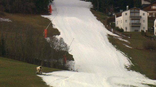 Melting snow on ski slope