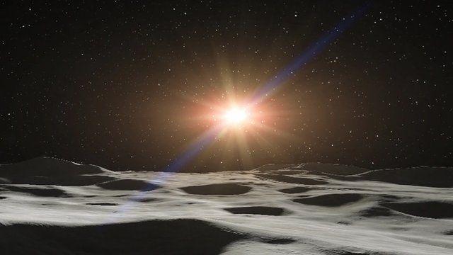 Polar mountains with sun shining