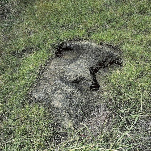 Escultura de Isla de Pascua enterrada