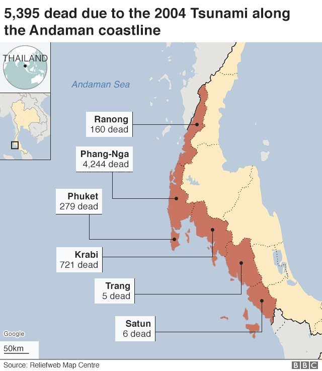 Graphic showing where most deaths occurred in Thailand