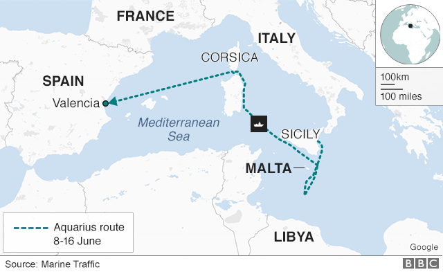 Map showing the route of the Aquarius