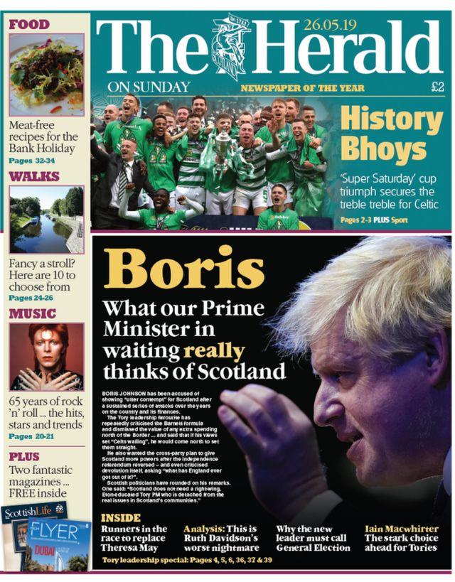 Scottish papers: Boris on Scotland and Celtic's 'History Bhoys'