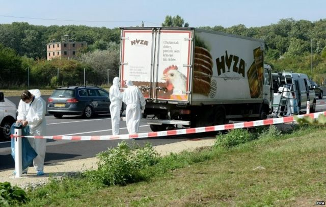 Migrant crisis: Austrian police work to recover bodies from lorry