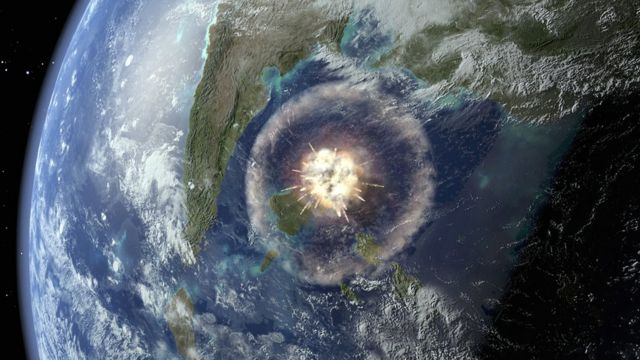 Illustration of an asteroid impact
