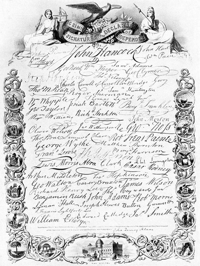 Firmas en la Declaración de Independencia de EE.UU.