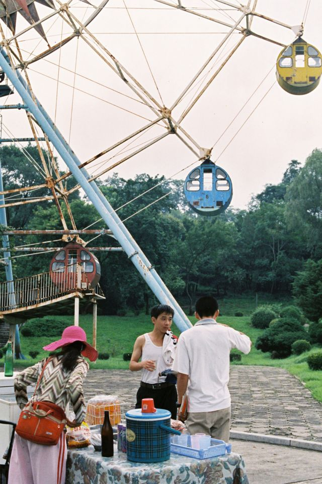 North Korea: Pyongyang, refreshment stand in front of the Ferris Wheel, in the amusement park in Pyongyang, 2009