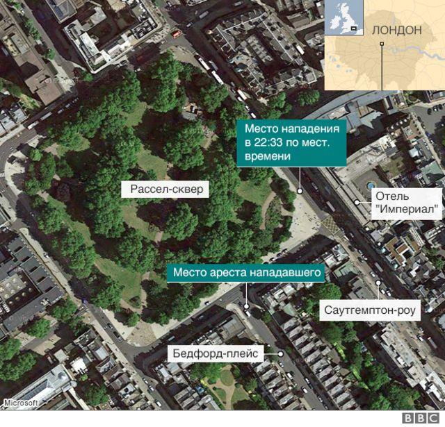 Карта района нападения
