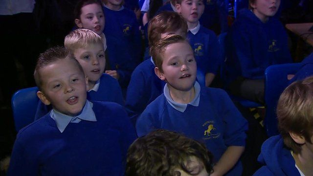 Pupils at Tim Peake's former primary school