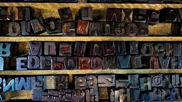 Letras de imprenta en Cali, Colombia.