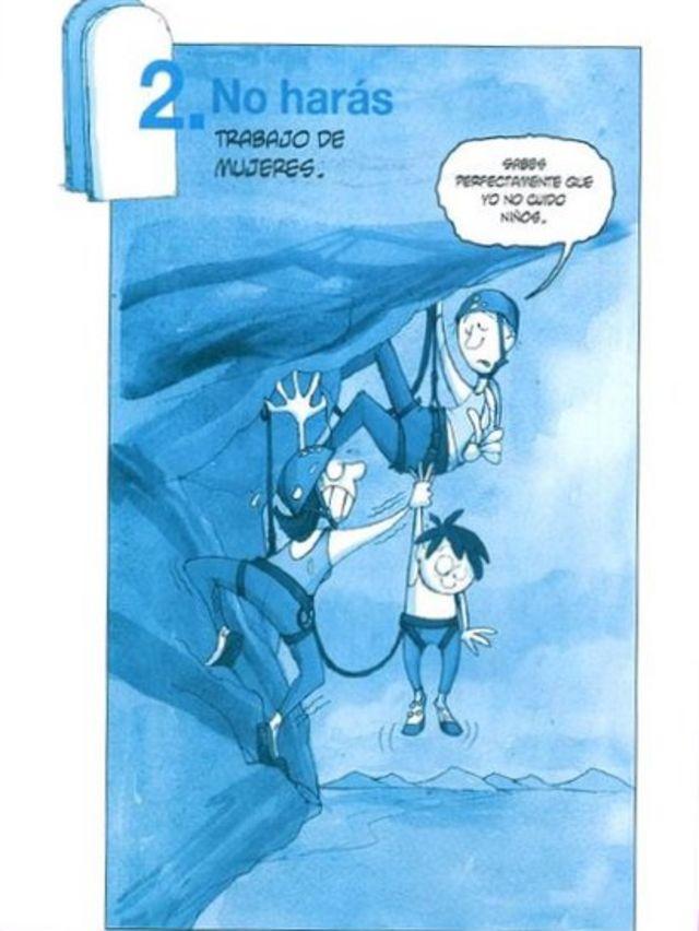 """""""No harás trabajo de mujeres"""", dice la caricatura. (Crédito: Eva Lobatón)"""