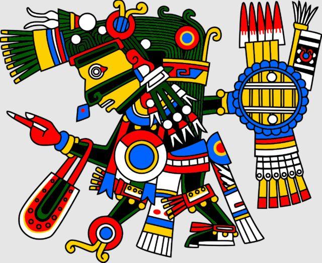 เทพ Tezcatlipoca หรือเทพแห่งการทำนายดวงชะตาของชาวแอซเท็ก มีกระจกออบซิเดียนอยู่ที่ขมับ หน้าอก และเท้า