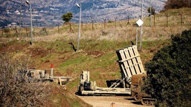 سیستم ضد موشک گنبد آهنین اسرائیل در بلندیهای اشغالی جولان در مرز سوریه