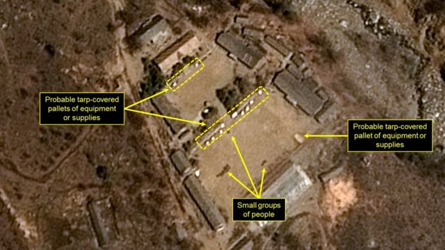 Handout picture obtained on April 13, 2017 from French space agency Centre shows a satellite image of North Korea's Punggye-ri Nuclear Test Site,