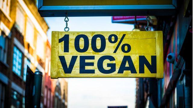 Cartaz de produtos veganos. O veganismo é saudável?