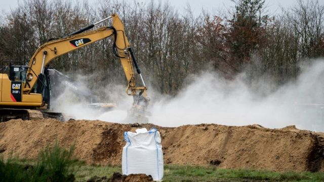"""آلات حفر تقلب أكواماً من حيوانات المنك النافقة داخل خنادق في """"جوتلاند"""""""