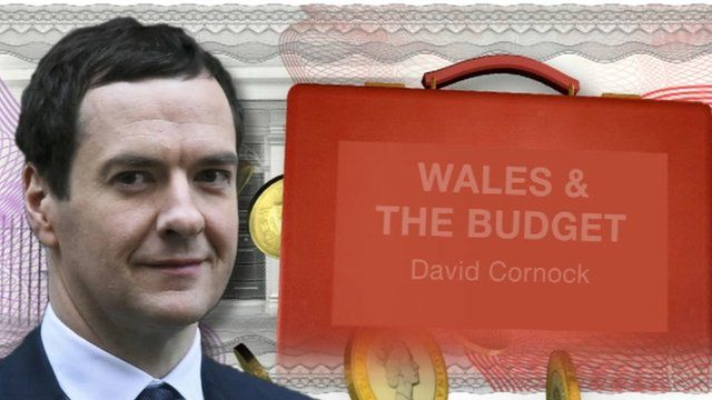 "Graphic including picture of George Osborne and text: ""Wales & the Budget, David Cornock""."
