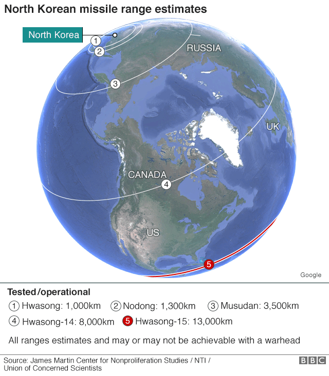 Map: Estimated ranges of tested North Korean missiles