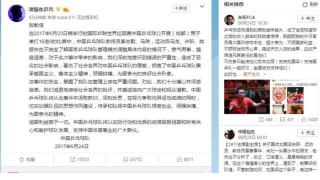 樊振東6月24日在微博上轉發乒乓球隊的致歉信