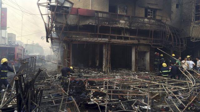 Lugar en el que ocurrió el ataque con bomba en Bagdad