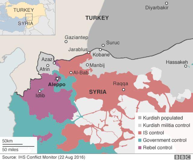 シリアの最新の勢力図(赤:IS、緑:政府軍、紫:反政府勢力、灰色:クルド人勢力)