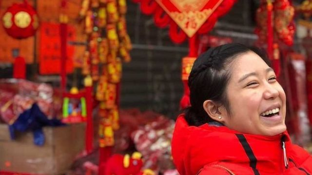 Stephanie wears red during the Chinese New Year period.