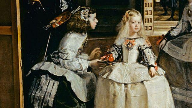 """Infanta Margarita y una sirviente en el cuadro """"Las Meninas""""."""