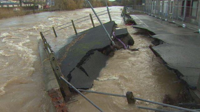 Flood damage in Hawick