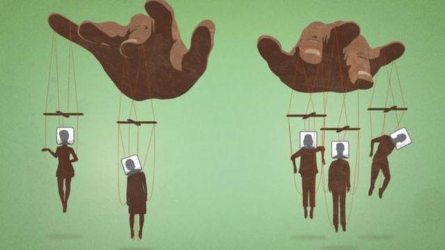 Ilustração mostra eleitores como fantoches