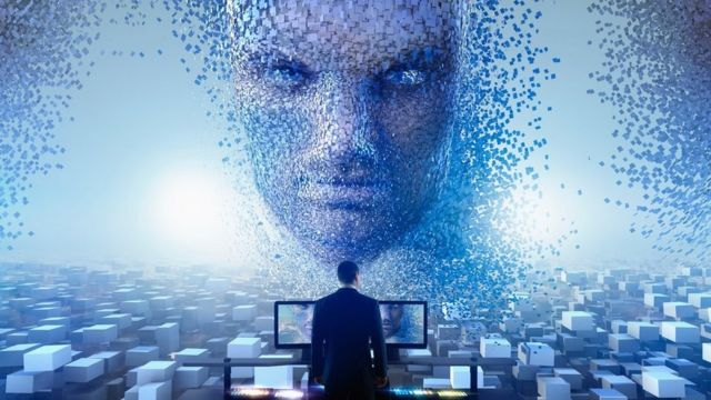 AI face with man standing by computers