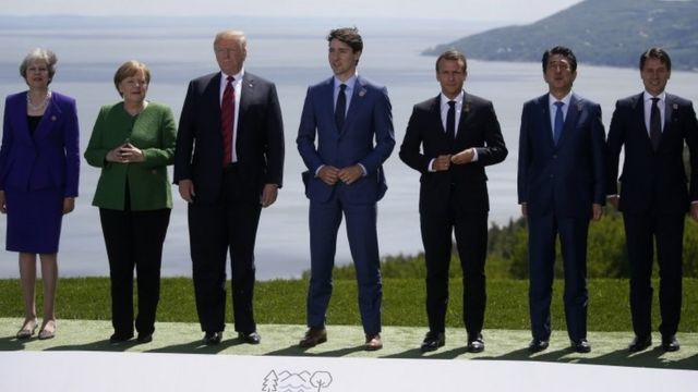 """British Prime Minister Theresa May, German Chancellor Angela Merkel, U.S. President Donald Trump, Canada""""s Prime Minister Justin Trudeau, French President Emmanuel Macron, Japanese Prime Minister Shinzo Abe and Italian Prime Minister Giuseppe Conte at the G7"""