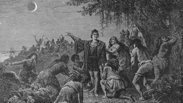 Ilustración de Colón mostrando el eclipse a los nativos. Camille Flammarion 1879.