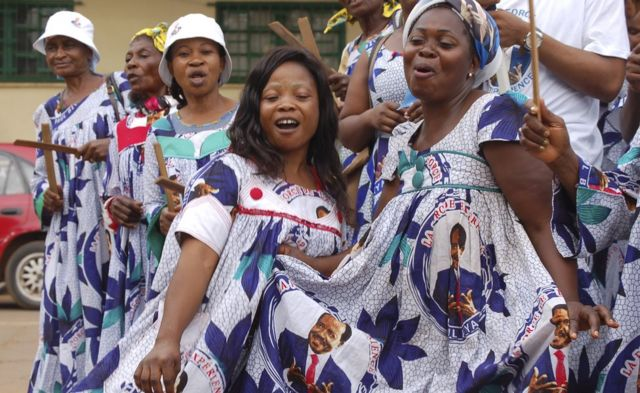 Cameroonian women celebrating President Paul Biya's election victory - Monday 22 October 2018