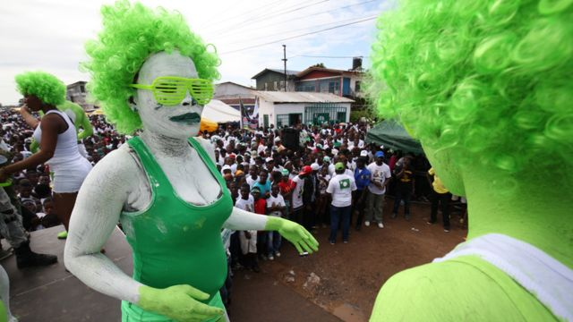 """Liberians paints their bodies during a Green rally to mark the official Launch of opposition Liberty Party (LP) Presidential candidate, Charles Walker Brumskine (not pictured) campaign, at the party headquarters in Monrovia, Liberia, 09 September 2017. The Presidential and General Elections are scheduled for 10 October 2017, and Liberians are to elect a new president to succeed incumbent President Ellen Johnson Sirleaf. The 2017 Presidential election is expected to be Liberia""""s first peaceful transition of power from a democratically elected President to another after almost four decades."""