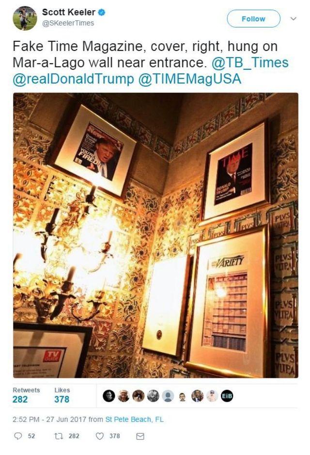 Dos fotos con la imagen de Trump en dos publicaciones.