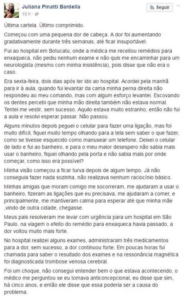 O depoimento de Juliana no Facebook