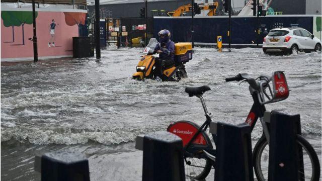 Motorbike in flood water
