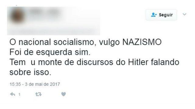 Tuíte sobre nazismo